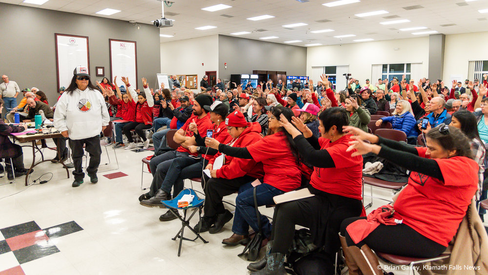 On January 7, 2019, in Klamath Falls, hundreds gathered united in red, to rally against the proposed Jordan Cove LNG project at the Klamath Falls hearing of the Oregon Department of State Lands. Hearings were scheduled in January to allow for public comment regarding the Jordan Cove LLC projects removal/fill application. Hundreds more gathered in four additional hearings in Oregon. (Brian Gailey / Klamath Falls News)