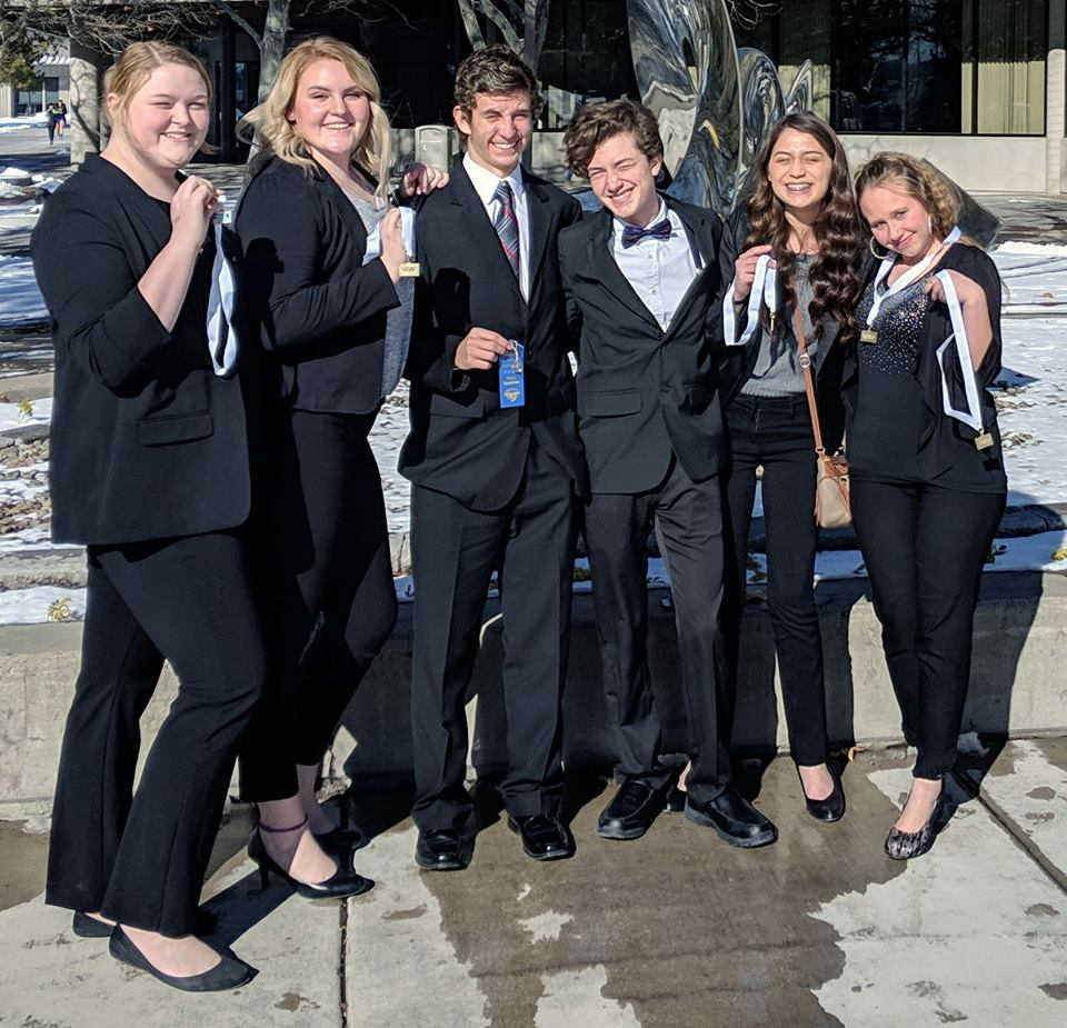 Members of Bonanza High School's FBLA team gather for a group picture during the FBLA Cascade Regional Skills Conference last week at OIT.
