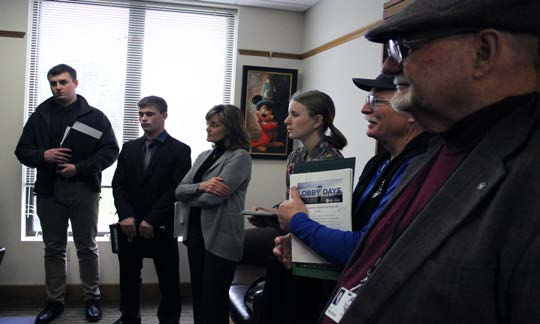 Lobbying at the state Capitol on Tuesday are Dan Jones of Chiloquin, Nolan Britton of Lost River, school board member Denise Kandra, Bella Tenold of Bonanza, and school board members John Rademacher and Robert Moore.