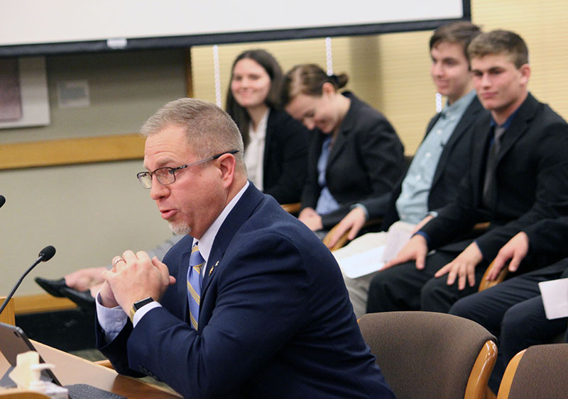 State Rep. Werner Reschke, R-Klamath Falls, introduces House Bill 2867 to the House Committee on Education. KCSD students followed his introduction with their testimony.