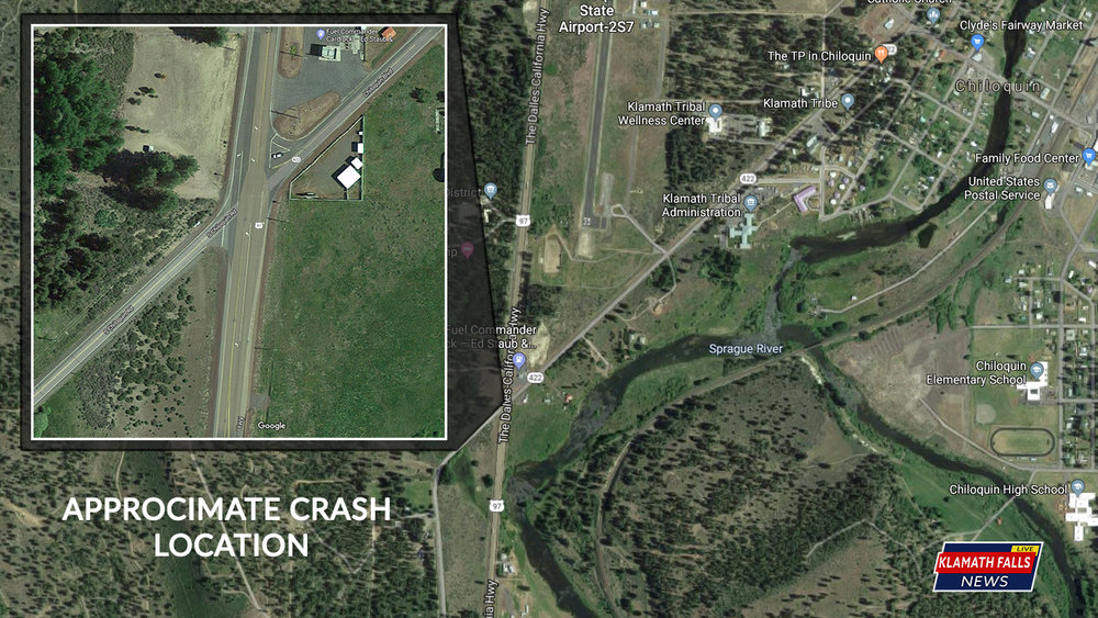 Approximate location of the vehicle vs pedestrian crash happened at the intersection of South Chiloquin Rd / Chiloquin Blvd. and Highway 97. (Google Maps)