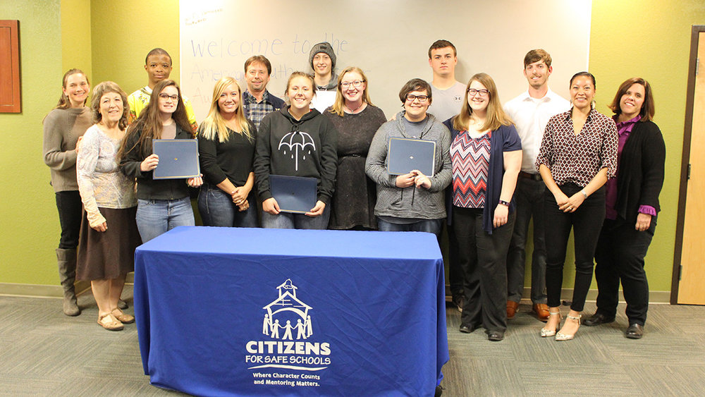 Group photo of students honored at the Citizens for Safe Schools American Youth Character Awards on Monday night. Submitted Photo.
