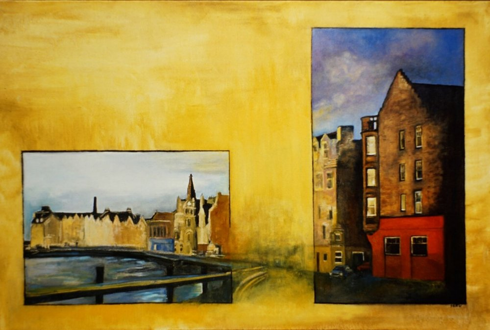 "Leith Docks, 36"" x 54"" oil/canvas"