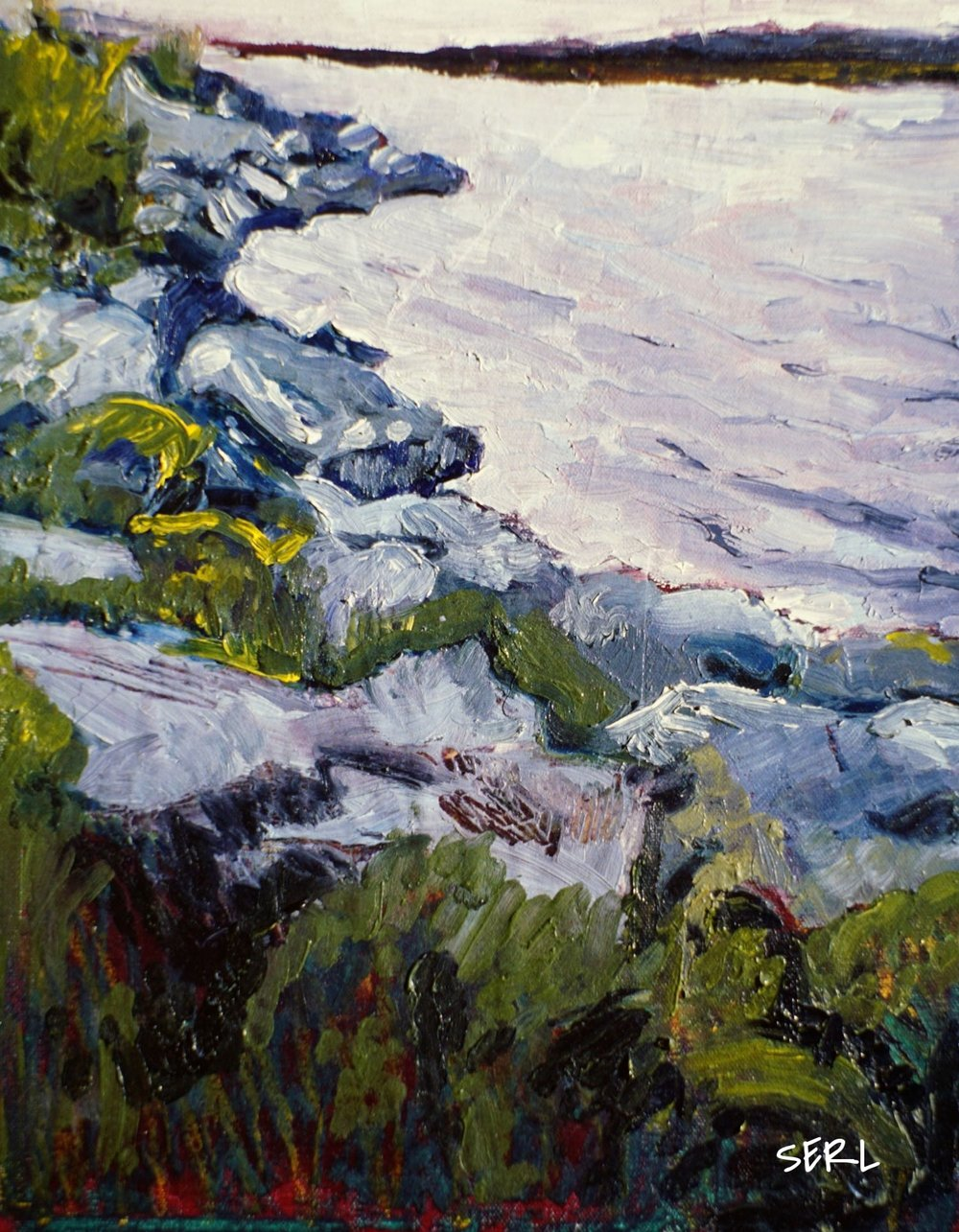 "Loch Duntelchaig, 14"" x 11"" oil/wax on canvas"