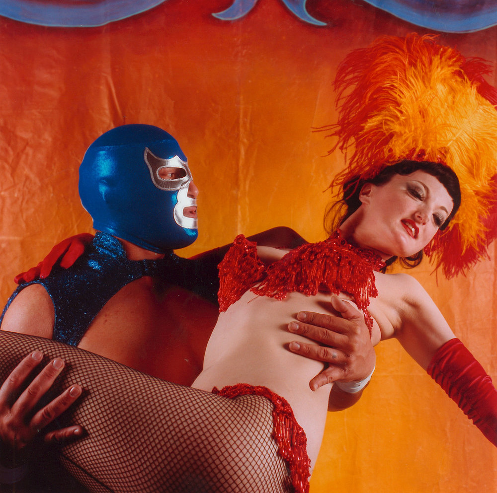 Blue Demon Jr. with Miss Mya O My