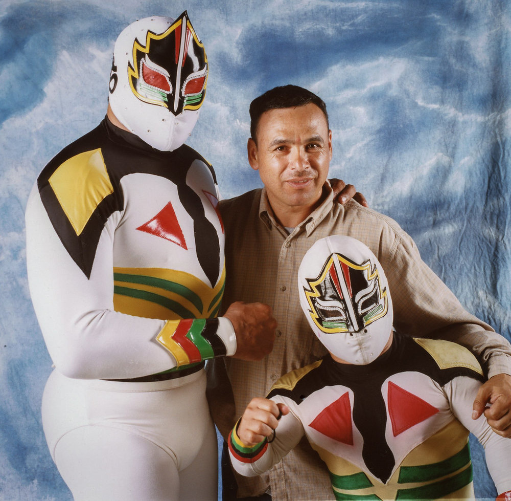 Mascara Sagrada with Mascarita Sagrada and promoter