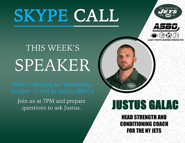 TONIGHT in BB374‼️ We will be Skyping NY Jets Strength and Conditioning Coach Justin Galac. 🏈Come and join us at 7PM and prepare some questions. 👀See you there! #nyjets #nfl #football #sportsbusiness #ualbany
