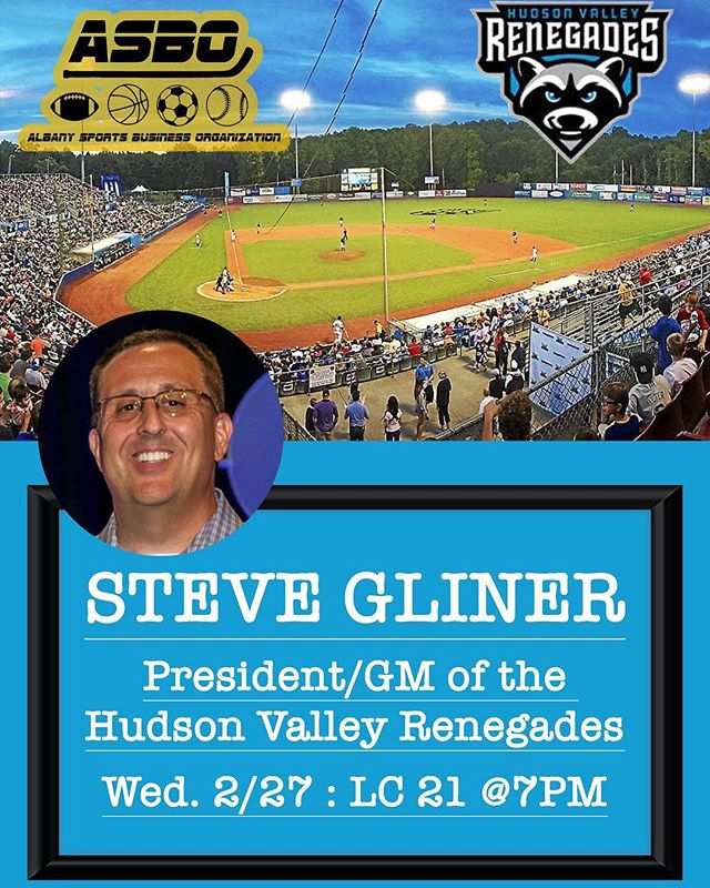 TONIGHT‼️ Steve Gliner of the Hudson Valley Renegades will be joining us in LC 21 @7pm. Learn what it takes to run a minor league baseball team⚾️ See you all there! #baseball #sports #sportsbusiness #ualbany