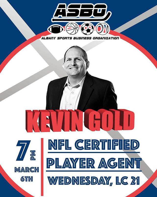 TOMORROW NIGHT‼️ Join ASBO in LC 21 at 7pm and meet Kevin Gold, an NFL Certified Player Agent. 🏈 Did we mention he is also a UAlbany Alumni?😱 Don't miss out! #nfl #sports #sportsmanagement
