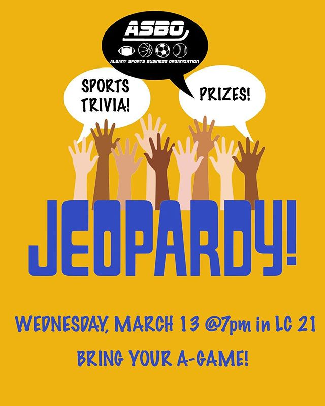 HAPPY HUMPDAY‼️ Today is a perfect day for... JEOPARDY! (insert theme music here) 🎶Come by LC 21 to test your sports trivia knowledge and have a chance to win prizes! 🤓See ya at 7! #sports #sportstrivia #sportsbusiness #ualbany