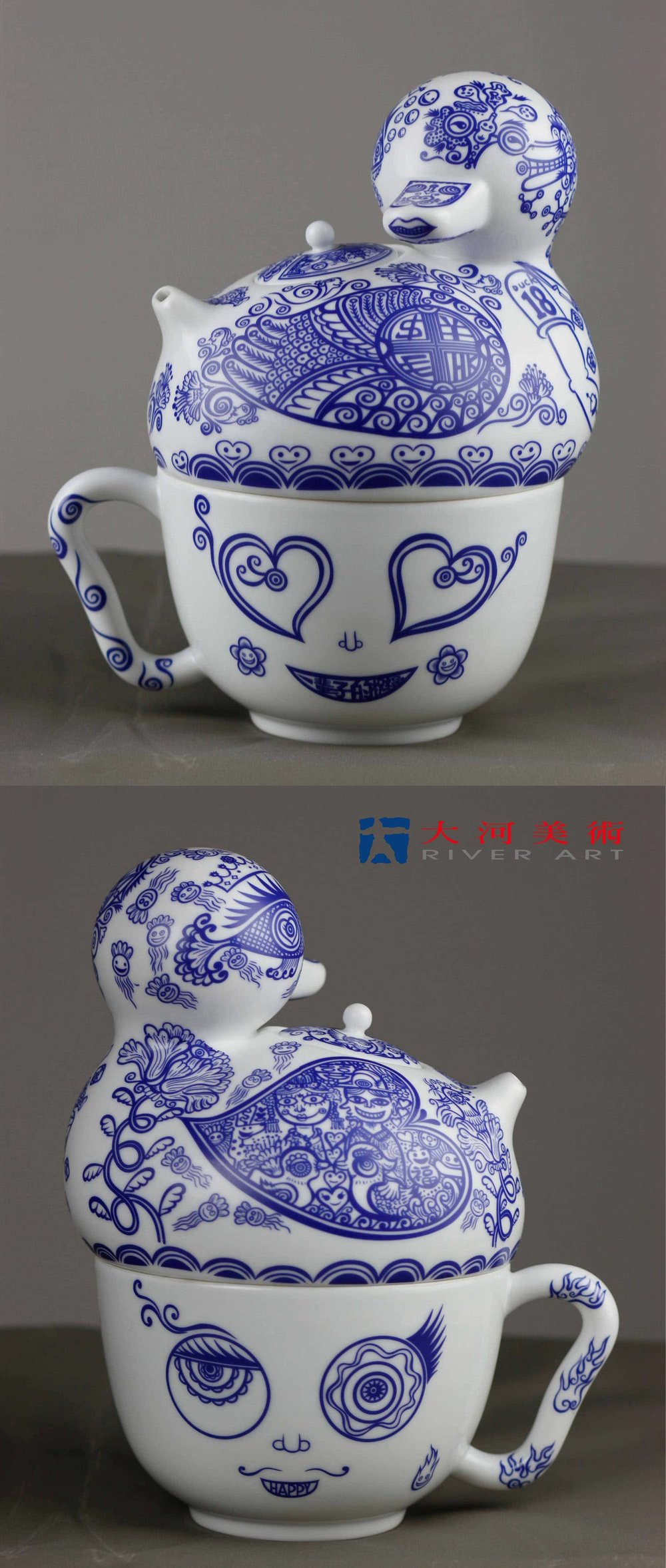 洪易 HUNG Yi〈一輩子的祝福-青花鴨壺杯組 A Blessing for a Lifetime-Blue and White Duck Teapot and Cup〉
