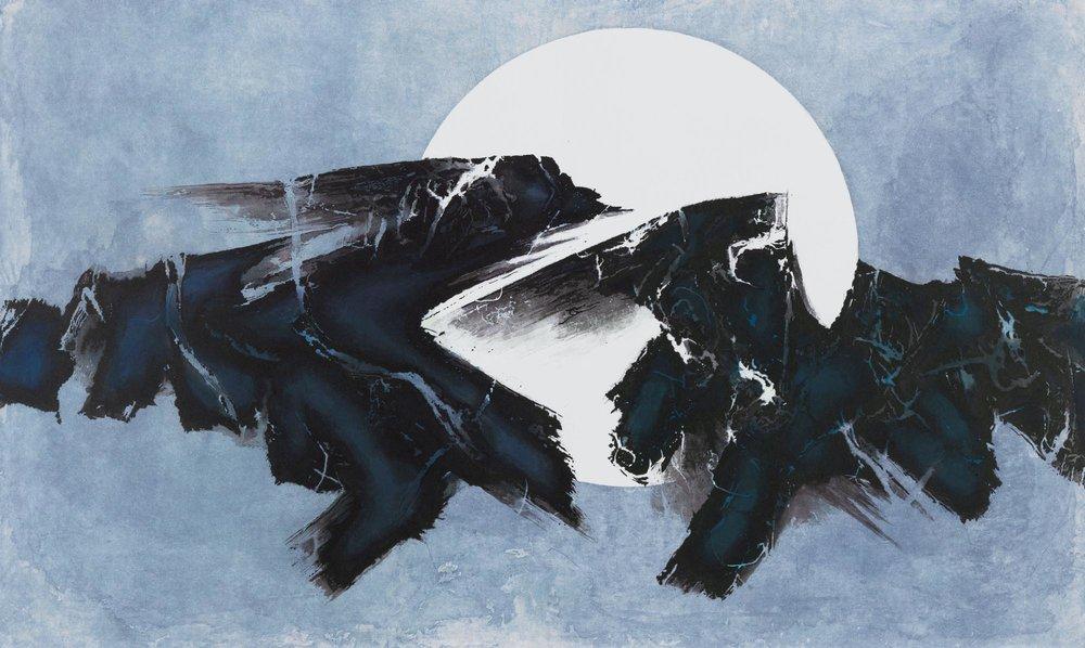 劉國松 LIU Kuo-Sung〈日月浮沈 Sun and Moon: Floating? Sinking?〉