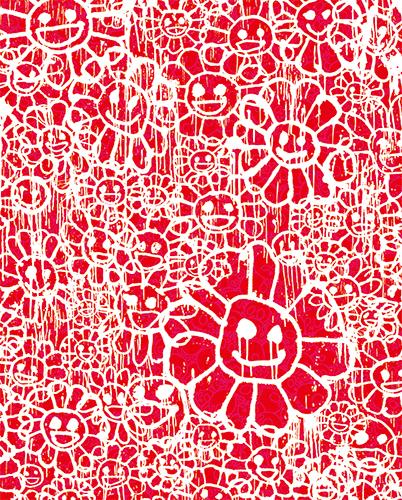 村上隆 Takashi Murakami〈Madsaki Flowers B Red〉