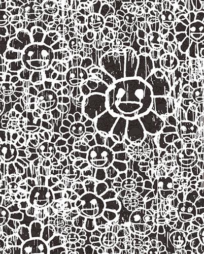 村上隆 Takashi Murakami〈Madsaki Flowers C Black〉