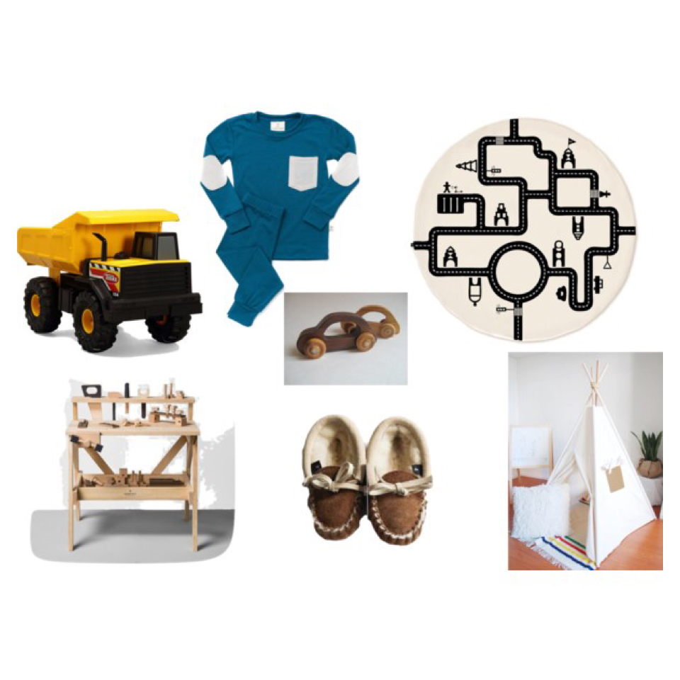 sources.  TONKA TRUCK  //  THERMAL LONG JOHNS- CLOTH  //  LITTLE VILLAGE PLAYMAT- LITTLE MINIMALIS T //  WOOD CAR SET //  WOOD WORK BENCH  //  FUR LINED SLIPPER- RUFUS AND MURDOG  //  CANVAS TEEPEE  //