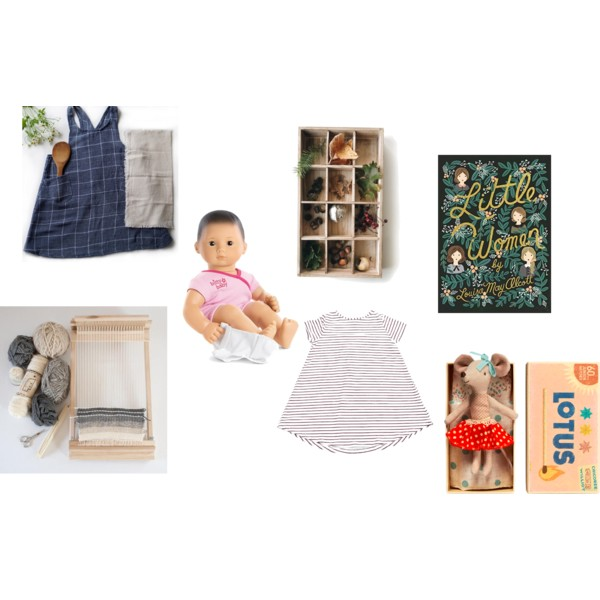 Sources :  LINEN APRON- LILBELLIES  //  LOOM  //  MAILEG MOUSE  //  NATURE BOX  //  PLAIN JANE DRESS  //  BITTY BABY  //  LITTLE WOMEN BOOK  //