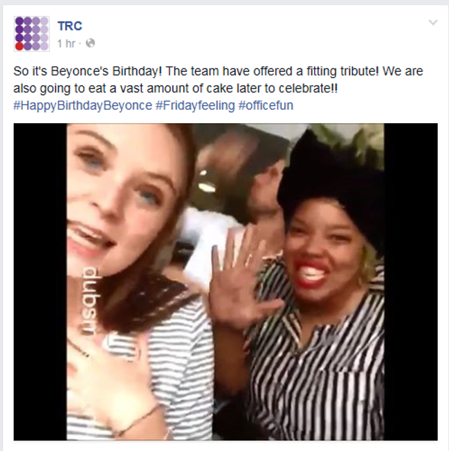 TRC celebrating Beyonce's birthday, Facebook
