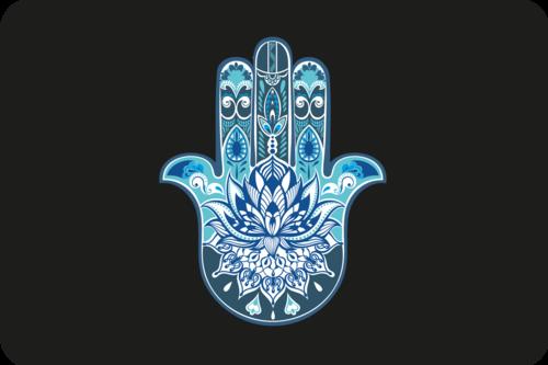 blue hamsa yoga block on black backgroundpng