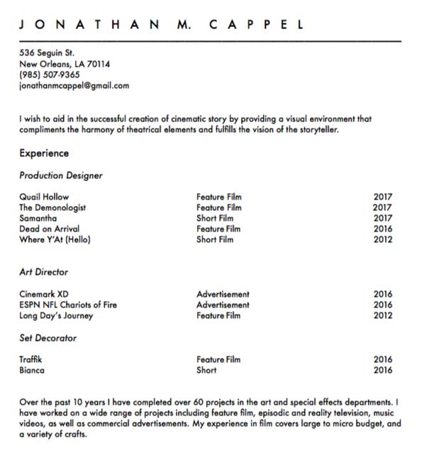 resume jonathan cappel production design