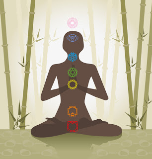 Illustration of human body showing location of chakras with symbols