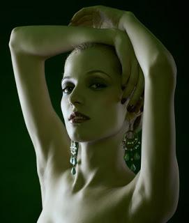 Woman with drop earrings