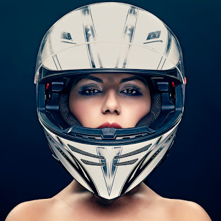 Glam woman wearing helmet