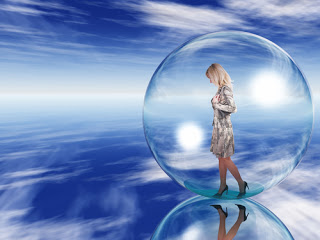 Woman walking in bubble
