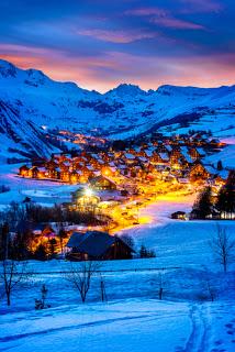 Alpine village with lights