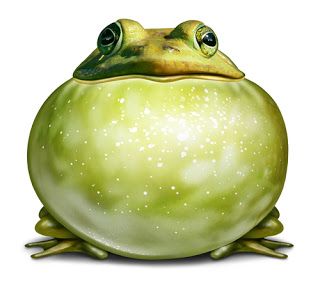 Cartoon frog with enlarged throat