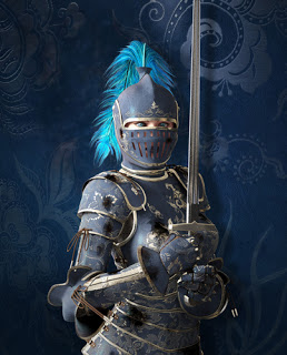 Woman in suit of armour
