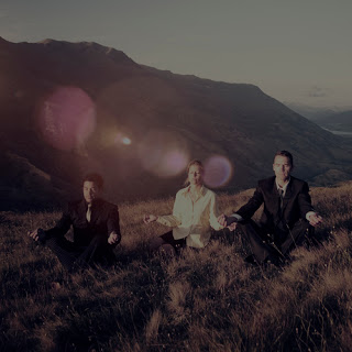 Businesspeople meditating on a mountainside