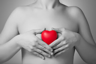 Woman's chest holding heart