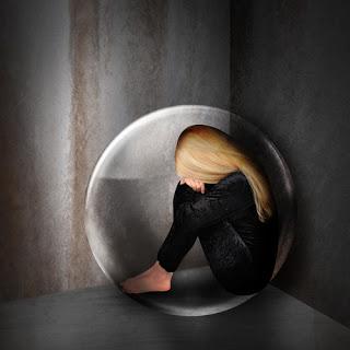Woman hiding in giant bubble.