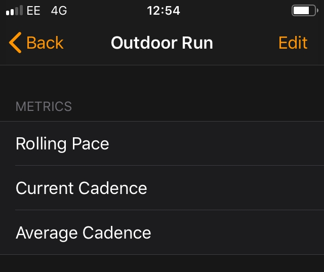 The new metrics available to running workouts