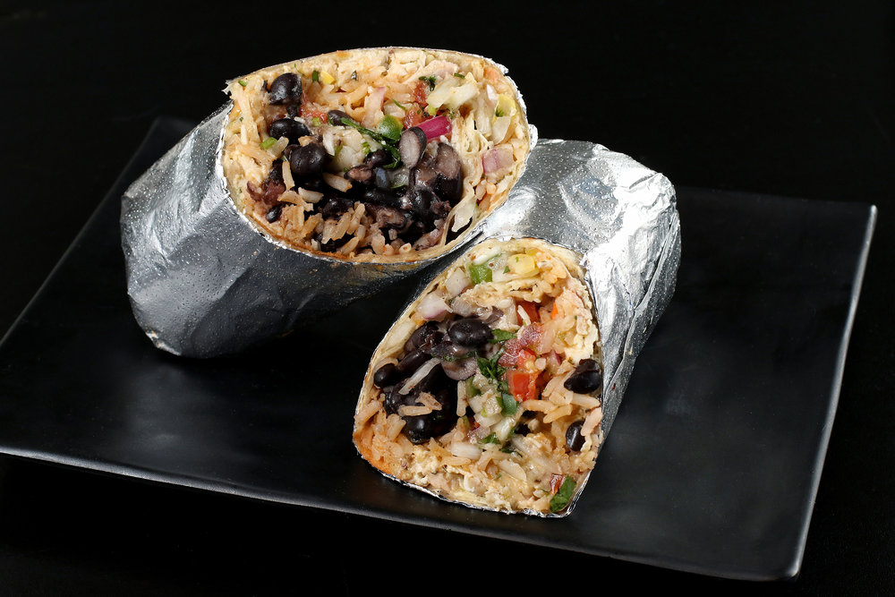 Vegetarian Burrito with Rice and Beans