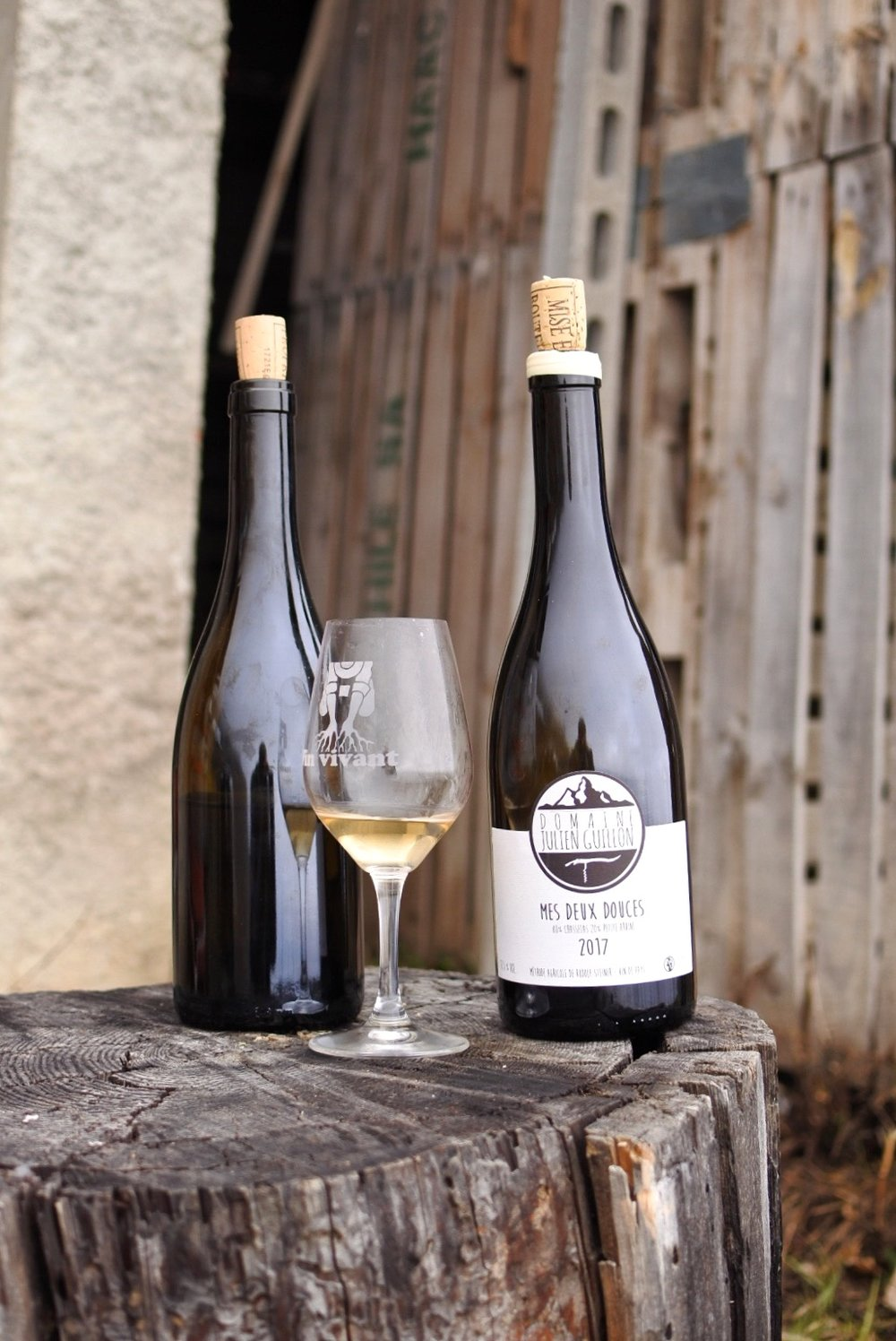 """2017 Mes Deux Douces or """"My two sweets"""", two plots, two grapes, Chasselas and Petite Arvine. Two typical Swiss grapes but blended together in a very atypical wine, that's Julien's touch"""