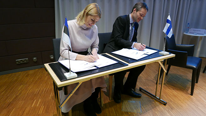 Ministers Palo and Mykkänen signed the agreement on setting up the institute on 7th March 2017