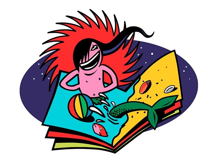 Illustration Bañarse eun un libro (freie Arbeit)