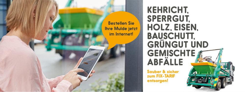 Mulde online - Auftraggeber:Almeta Recycling AGKonzeptionelle Gestaltung, Marktkommunikation:Christian Jaberg, jaberg.designWebsite:Biwac Informatik AG