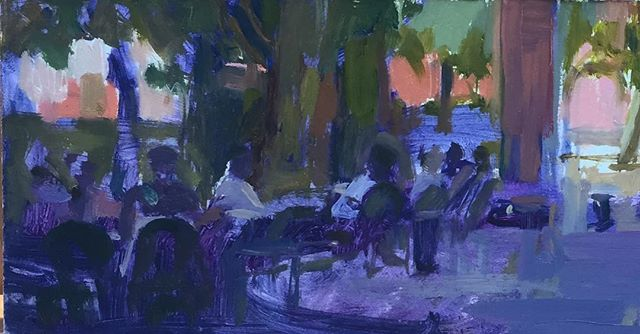 Cafe scene. Toulouse. Oil on board.  11cms x 30cms ( cut off in width by Insta! )