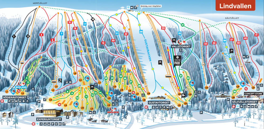 Download Skistars Lindvallens piste map as pdf