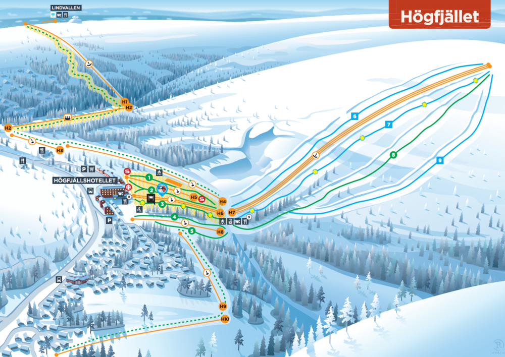 Download Skistars Högfjället piste map as pdf
