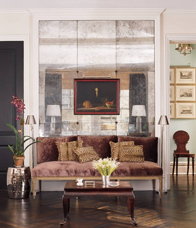 Bespoke Antique Mirrored Paneled Wall - Price available on request