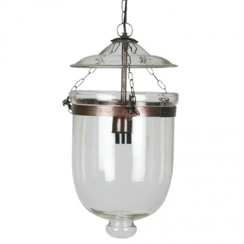 Bayswater Pendant Light - Metal and glass bell jar ceiling lightSize Small: H35 x W18 xD18 cmSize Large: H42 x W25 x D25 cm