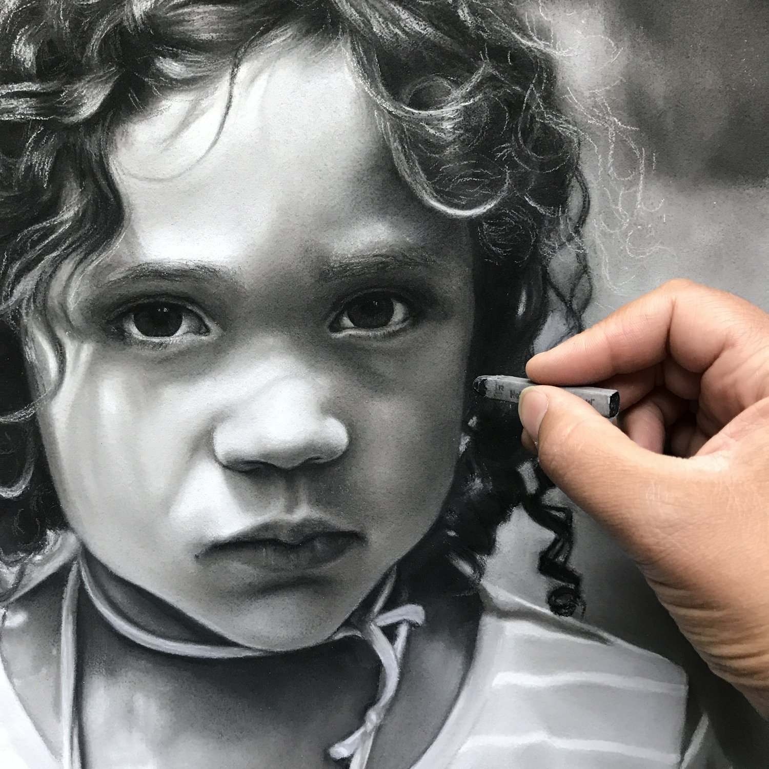 11x14 black and white pastel custom drawing