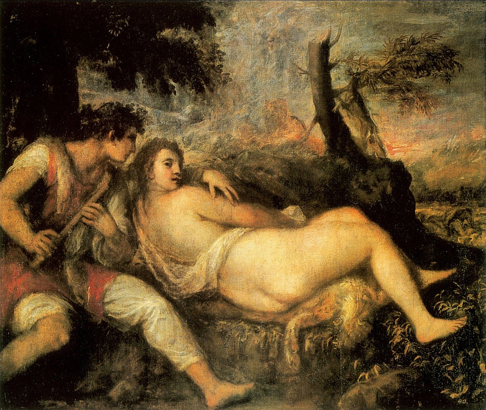 The Shepherd and the Nymph , Titian (1576)