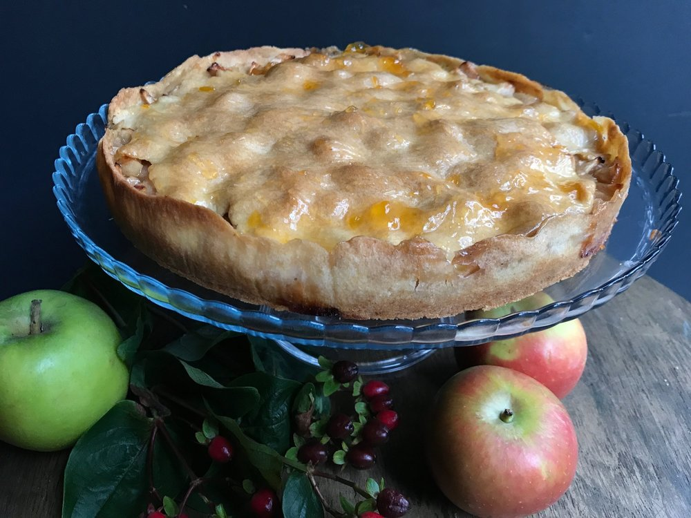 Elsäßischer gedeckter Apfelkuchen