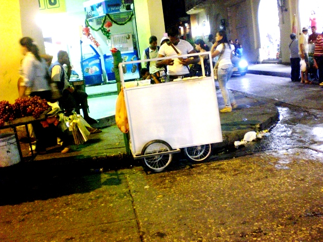 Cartagena, Colombia. Street food cart. Beware it is greasy, yummy and addicting.