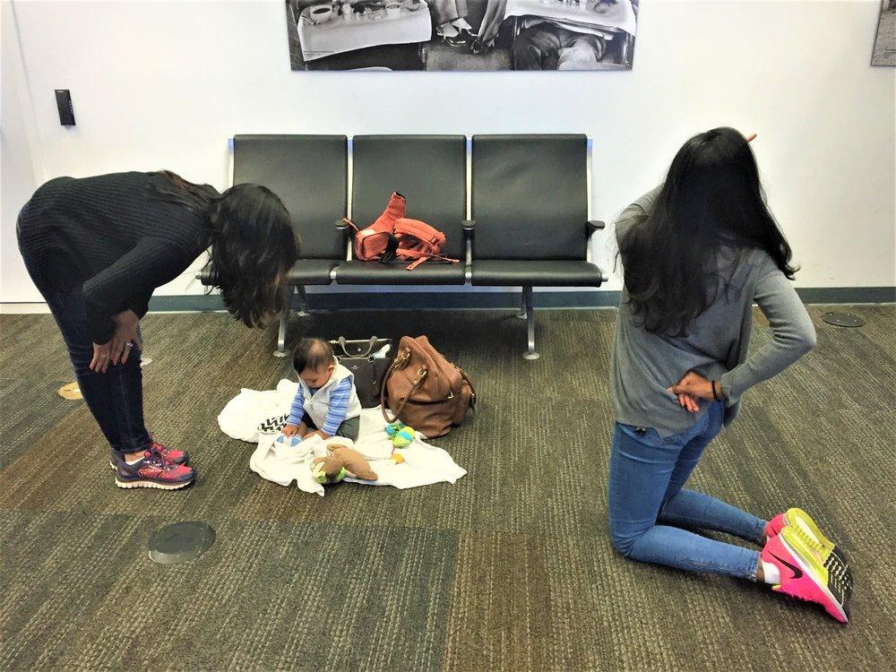 San Francisco International Airport. Stretches and play before boarding our flight.
