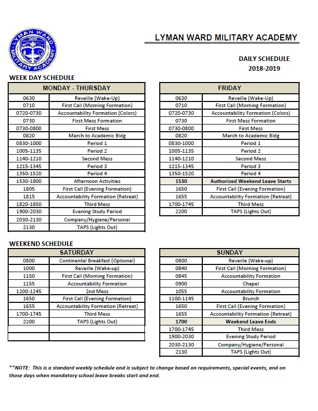 sample day schedule lyman ward military academy